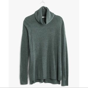 Madewell Green Turtleneck Ribbed Sweater